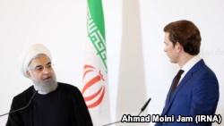 کنفرانس خبری سباستین کورتز صدراعظم اتریش و حسن روحانی رئیسجمهوری ایران در وین